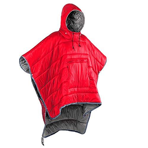 Casaco poncho de inverno com capuz para uso ao ar livre para acampamento quente pequeno cobertor colcha resistente à água saco de dormir capa com chapéu (vermelho)