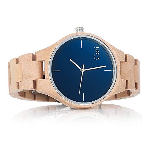 Cari Damen & Herren Holzuhr 40mm mit Schweizer Uhrwerk - Holz-Armbanduhr Stockholm-021 (Ahornholz beige)