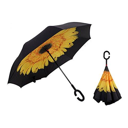 RAIN QUEEN Regenschirm Schirm Double Layer Frei Hände c-förmigen Griff Rückseite Outdoor UV-Schutz umkehren Auto Regenschirm windundurchlässiger 105cm (Gelb)