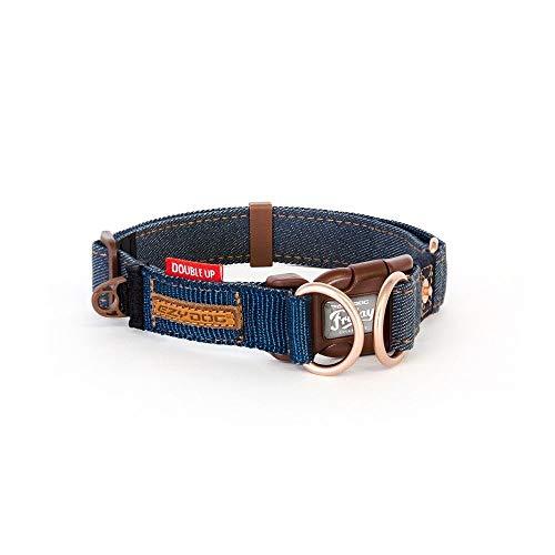 EzyDog Hundehalsband Nylon - Double Up - Hunde Halsband Stoff für Kleine, Mittelgroße und Große Hund, Reflektierend, Gepolstert, Verstellbar (S, Denim)