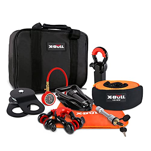 XPV Winch Accessory Kit Recovery Kit :Recovery Tow Strap + D-Ring Shackles+ 8-Ton Snatch Block +Shackle Hitch Receiver +Trailer Hitch Lock+ Winch Dampener+Folding Survival Shovel+Tire Deflator