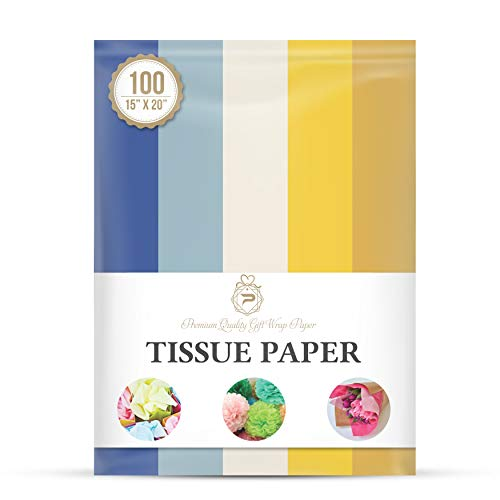 Hanukkah Theme Tissue Paper for Gift Wrapping (5 Assorted Colors), Packaging, Floral, Birthday, Christmas, Halloween, DIY Crafts and More 15' X 20' 100 Sheets
