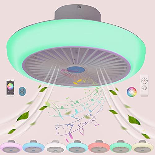 Ventilador Techo con Luz Inspire Colores Bluetooth Música Altavoz RGB Plafon LED Lampara Ventilador de Techo con Iluminación Mando a Distancia Silencioso Infantil Dormitorio Comedor Colgante 45cm