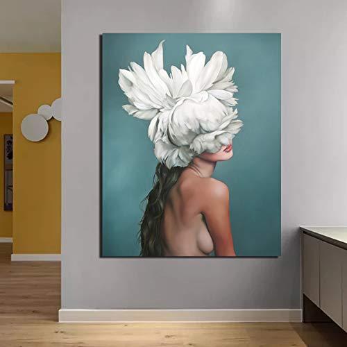 KWzEQ Nordische Plakatcharaktermalerei abstrakte weiße Vogelkopfmädchen schöne zurück Hintergrund Tapete Pop-Art-Malerei,Rahmenlose Malerei,70x90cm