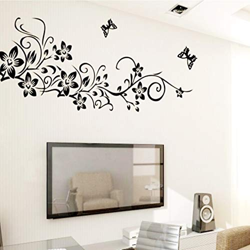 Boomli Black Flower Vine Home Decoration Wall Decal Decoration Removable Wall Sticker Tv Wallpaper