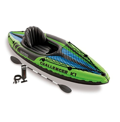 INTEX K1Challenger Kayak, 1Persona Kayak Inflable Set con irtetg remos de Aluminio y Bomba de Aire de Salida de Alta, 3Unidades