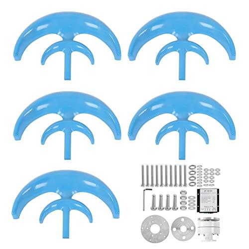 RUXMY Turbina eolica, Kit de turbina eólica de Eje Vertical Azul, 400 W, 5 Hojas, Doble Capa, Tipo Linterna, generador de energía eólica para Carga de Barcos, terrazas, cabañas o Casas móviles (12 V)