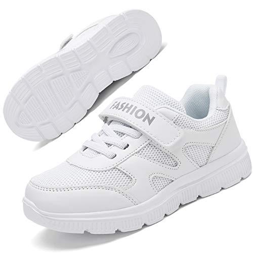 Gaatpot Kinder Turnschuhe Mädchen Leichte Sportschuhe Jungen Laufschuhe Hallenschuhe Outdoor Casual Sneaker Schuhe Weiß 35EU=36CN