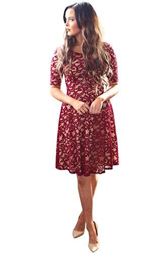 Sloan Modest Dress In Blush Pink Lace, Modest Bridesmaid Dress, Modest Semi-Formal Dress
