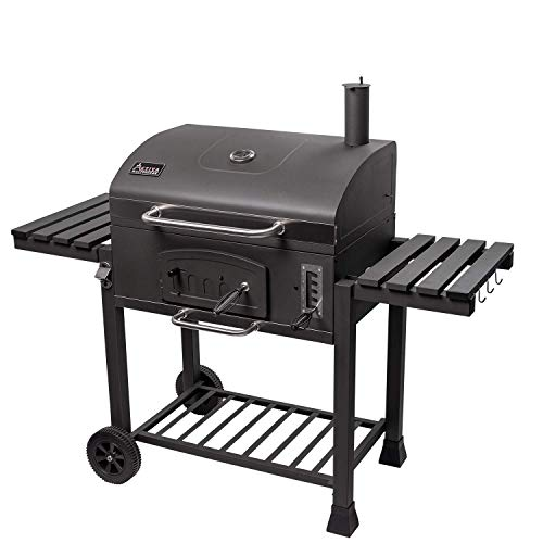 ACTIVA Grill Gusseisen XXL Grillwagen Angulatus, Schwarz, Holzkohlegrill Barbeque BBQ, Holzkohle-Grill Groß Guss