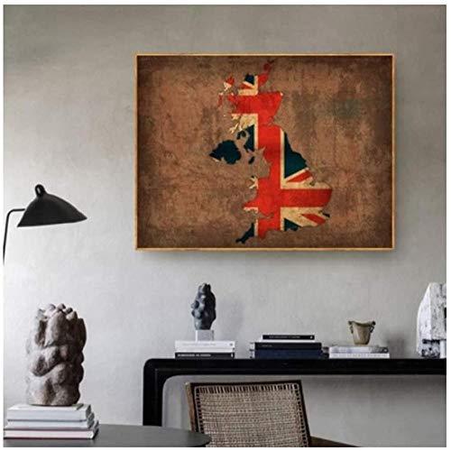 Canvas print,Vintage klassieke kunst home ideeën land vlag kaarten poster Vintage land vlag kaart van het Verenigd Koninkrijk Home Decor Wall Art Decor-50x70cm
