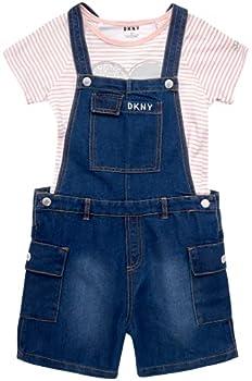 DKNY Girls  Overalls Set - Stretch Denim Shortalls with Short Sleeve T-Shirt Size 8 Medium Wash/Heart Stripes