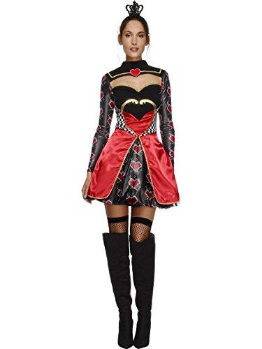 SMIFFYS Smiffy's 43479M - Febbre Regina di Cuori Costume con Il Vestito Nero Attached Sottogonna e Mini Corona, M