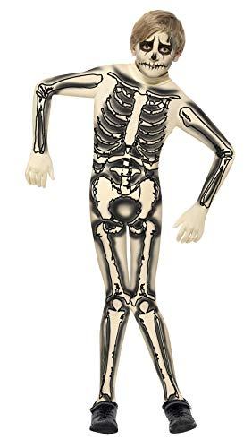Smiffy de - 355.880 - Esqueleto Disfraz Second Skin - Mediana Edad 7-9 Años - Halloween de Disfraces para niños