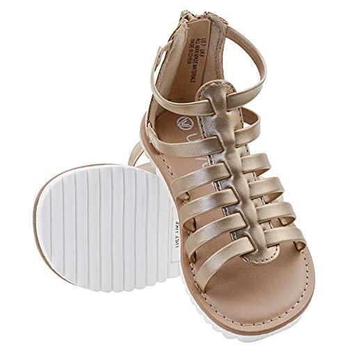 FIBURE Toddler Girl Sandals Gladiator Sandals for Girls Back Zipper Strappy Flat Sandal for Toddler Girls Gold 10 US