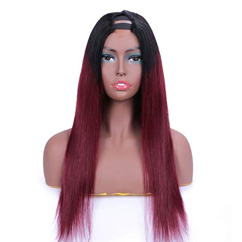 U Part Wig Human Hair Straight Wigs Natural Hairline Pre Plucked Bleached Knots Human Hair Wigs for Women,18inches