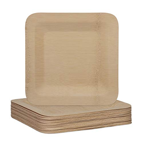 Relaxdays Bamboo Plates, Set of 25 Disposable Plates, 25.5 x 25.5 cm, Rectangular, Shape-Retaining, Compostable, Natural
