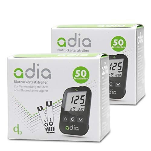 adia Blutzuckerteststreifen, 100 Stück, zur Selbstkontrolle des Blutzuckers bei Diabetes