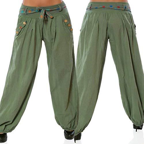 Pantalon Fluide Bloomers Pantalon Sarouel Style Imprimé All Over Pantalons SANFASHION(Armée Uni,M)