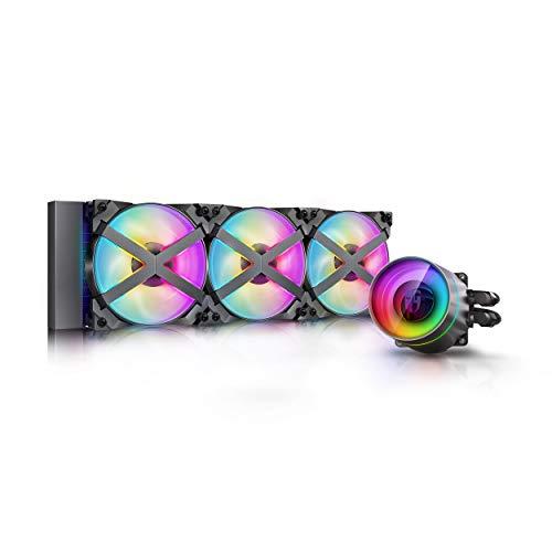 DEEP COOL Castle 360EX RGB, Raffreddamento a Liquido RGB Indirizzabile per CPU, Tecnologia Anti-Perdite, 3 Ventole MF120GT A-RGB, 3 Anni di Garanzia
