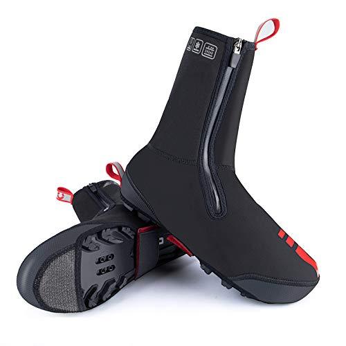 XIHAI Cubre Zapatos Ciclismo Invierno Impermeable Y Resistente Al Viento Engrosado Cubre Zapatos Ciclismo Invierno Funda Zapatillas Ciclismo DiseñO Reflectante para Montar Aire Libre,MTB Style,XXL