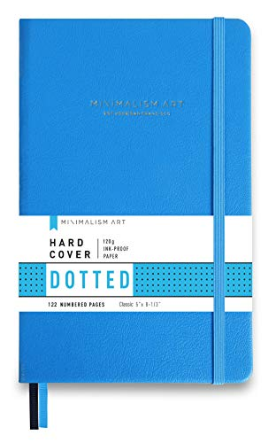 Minimalism Art, Premium Hard Cover Notebook Journal, Small, Classic 5' x 8.3', Dotted Grid Page, Blue, 122NumberedPages, GussetedPocket, Ribbon Bookmark, Ink-ProofPaper120gsm, San Francisco