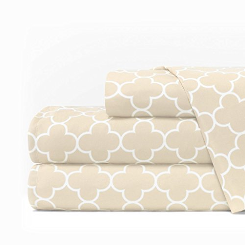 Italian Luxury 1600 Series Hotel Collection Clover Pattern Bed Sheet Set - Deep Pockets, Wrinkle and Fade Resistant, Hypoallergenic Sheet and Pillowcase Set - King - Cream/White