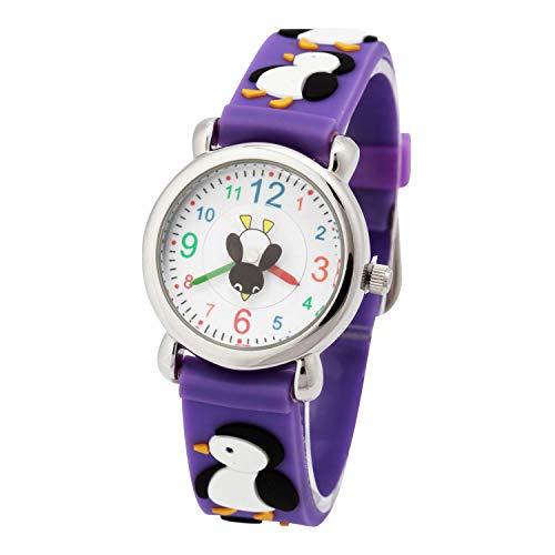 Reloj para Niños de Vinmori, Reloj de Cuarzo con Dibujos Animados Bonitos en 3D Resistente al Agua. Regalo para Chicos, Niños y Niñas (Penguin-Purple)