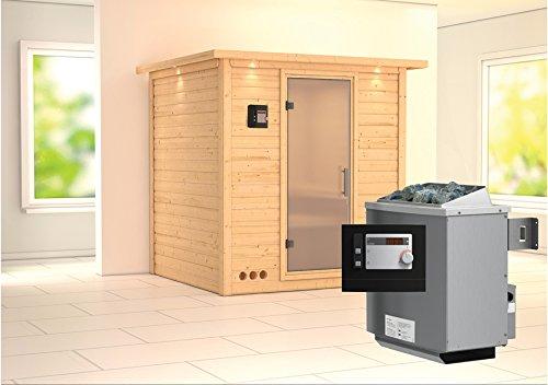 Preisvergleich Produktbild Karibu Sauna Mojave inkl. 9-kW-Ofen mit externer Steuerung,  mit Dachkranz,  mit satinierter Saunatür