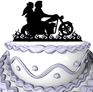 Meijiafei Wedding Cake Topper - Bride and Groom Motorcycle Silhouette for Rustic Wedding Anniversary Decoration