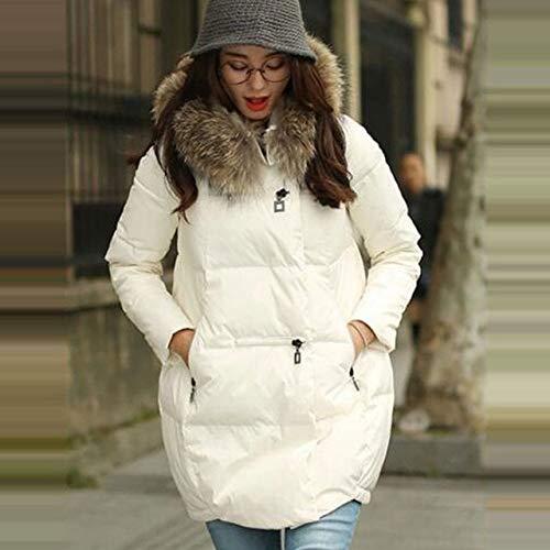 WEIYYY Abrigo Chaqueta con Capucha Chaqueta de Invierno para Mujer as 2020 Nueva Chaqueta Suelta para Mujer Prendas de Vestir Exteriores de Cuello para Mujer de Talla Grande 5XL, Blanco, XXXL