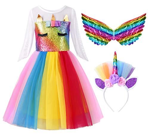 ReliBeauty Girls Unicorn Dress Halloween Pageant Outfits, 8/140 Rainbow