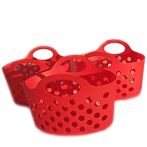 Red Durable Soft Sided Plastic Storage Baskets with Handles - for Organizing - Bendable, Stackable, Nesting (3 pc Bundle)