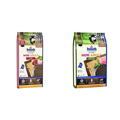 Bosch HPC Mini Adult mit Lamm & Reis   Hundetrockenfutter für ausgewachsene Hunde, 1 x 15 kg & HPC Mini Adult mit frischem Geflügel & Hirse   Hundetrockenfutter für ausgewachsene Hunde, 1 x 3 kg