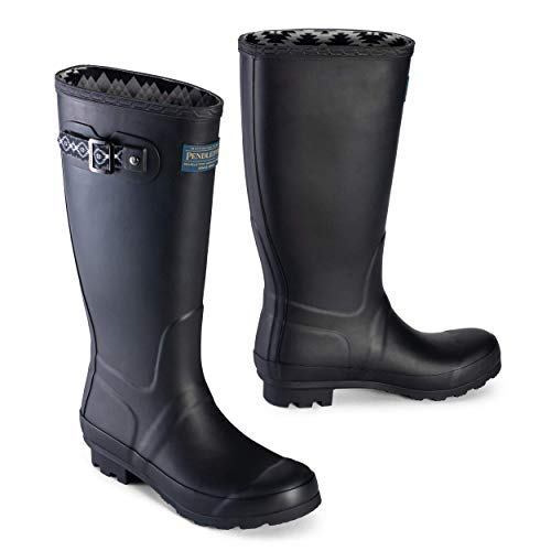 Pendleton Women's Classic Tall Slip-Resistant Rain Boot with Accessory on The Side, Black, Size 10