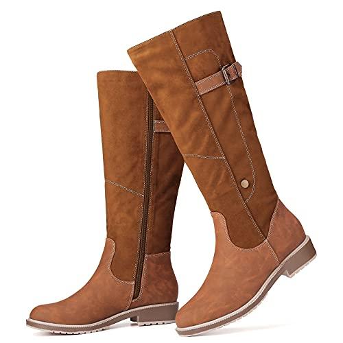 gracosy Bottes Hiver Femmes, Bottes Haute en Cuir PU Chaussures de Ville Plats Fourées Cuissarde Bottines Mustangs Boots de Neige Confortable Mollets Larges Noir Gris Marron 39