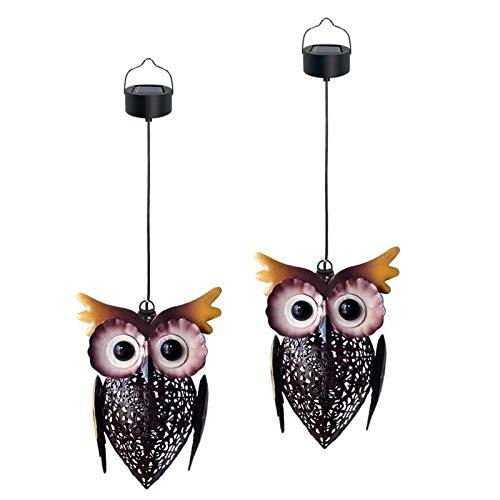 YWJPJ. Solar Owl Lantern, Hanging Solar Lights, Iron Hollow Outdoor Solar Lamp Vintage Garden Landscape Decorations for Yard Tree Garden (2Packs)
