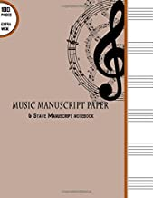 """Music Manuscript Paper: 6 Stave Manuscript Notebook: 100 Pages Extra Wide Staff Music Paper 8.5"""" x 11"""""""