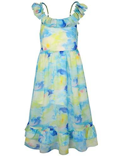 BONNY BILLY Mädchen Kleider Sommer Freizeit Chiffon Blumen Ärmellos Strandkleid Maxikleid mit Rüschen 5-6 Jahre/110-116 Grün