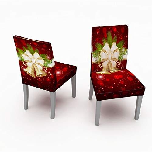 Sixcup 2 Stück Weihnachten Stuhlhussen Weihnachtsdeko,Universal Esszimmer Stuhl Elastische Beschützer Dining Stuhlhussen Stuhlabdeckung Stuhlbezug für Weihnachtstisch Dekoration (A)