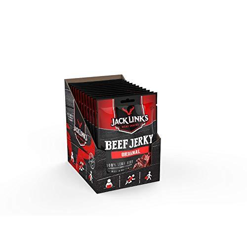 Jack Links Beef Jerky Original– 12er Pack (12 x 25 g) clipstrip – Proteinreiches Trockenfleisch vom Rind – Getrocknetes High Protein Dörrfleisch