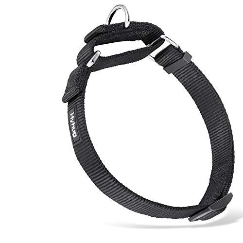 Hyhug langlebiges Nylon-Erstickungshalsband, geeignet für den täglichen Gebrauch und das Training von kleinen, mittleren und großen Hunden (Mittel, schwarz)
