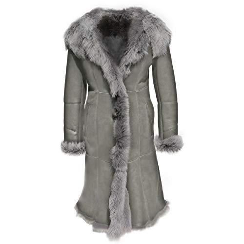 Hollert Damen Lammfellmantel Stella Grau Wintermantel aus Toskana Schaffell Luxus Mantel mit Kapuze Größe M