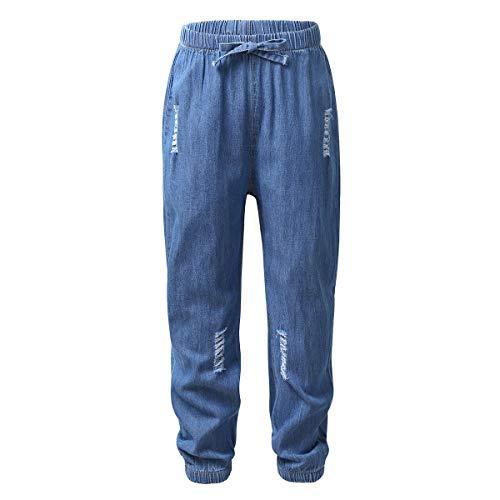 Freebily Pantalones Vaqueros Antimosquitos para Bebé Niño Pantalón de Harén Casual Verano para Yoga Gimnasia Polainas Ropa de Calle Azul Oscuro 100cm