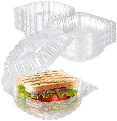 Stock Your Home Plastic 5 x 5 Inch Clamshell Takeout Tray 50 Count Dessert Containers Plastic product image