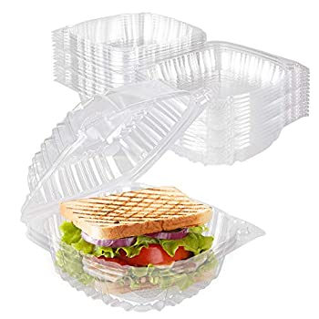 Stock Your Home Plastic 5 x 5 Inch Clamshell Takeout Tray  50 Count  - Dessert Containers - Plastic Hinged Food Container - Disposable Plastic Clamshell Food Containers for Salads Pasta Sandwiches