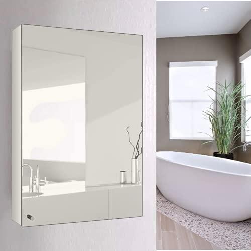 NOVA Bathroom Mirror Cabinet Single Door Storage Cupboard Stainless Steel Wall Mount 35 X 50CM