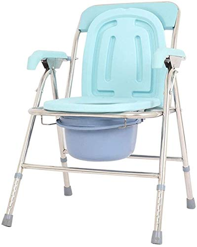LYATW Toilettenstuhl fahrbar Folding KopfendeCommode, Kann Als Toilettensitzerhöhung Einstellbare Riser gebraucht, Toilettenstuhl WC, Porta Potty for Erwachsene, Mietklo for Camping