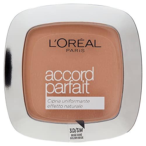 L'Oréal Paris Cipria in Polvere Uniformante Fissante Accord Parfait, Finish Matte e Risultato Naturale, 3D Beige Doré