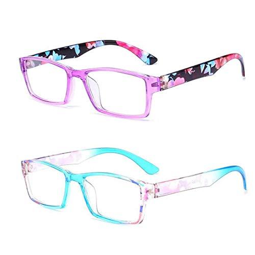 Inlefen 2 Paar Lesebrille Stilvoll gestaltete Unisex Brille zum Lesen von 2 Farben
